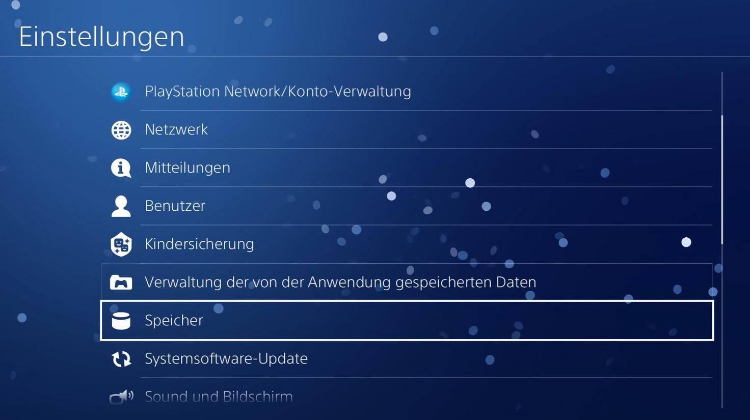 """Im """"Einstellungen""""-Menü kannst Du auf den Speicher der PS4 zugreifen."""