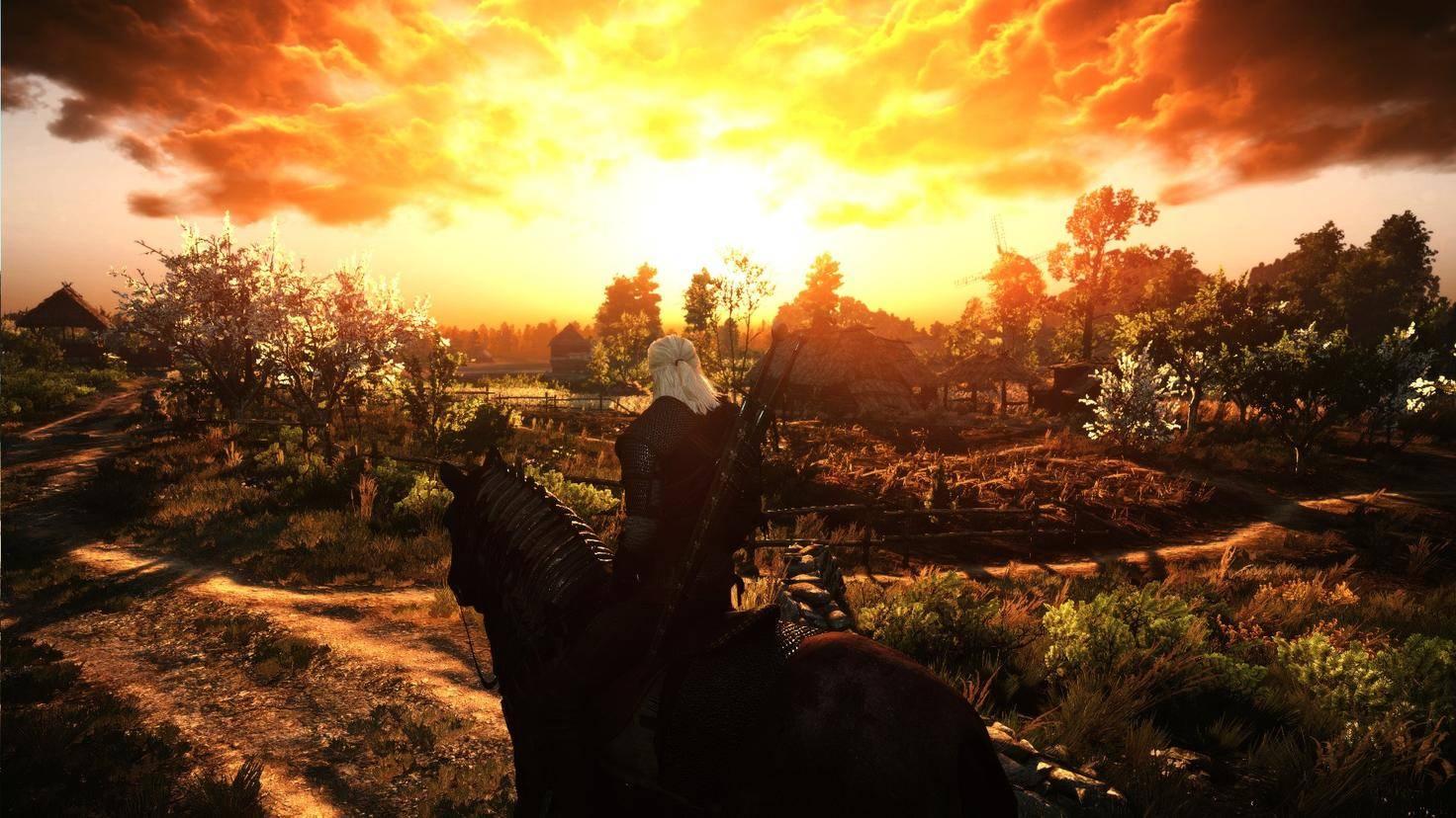 """Du wolltest schon immer in einen romantischen Sonnenuntergang reiten? Das """"The Witcher""""-Game erfüllt Dir diesen Traum."""