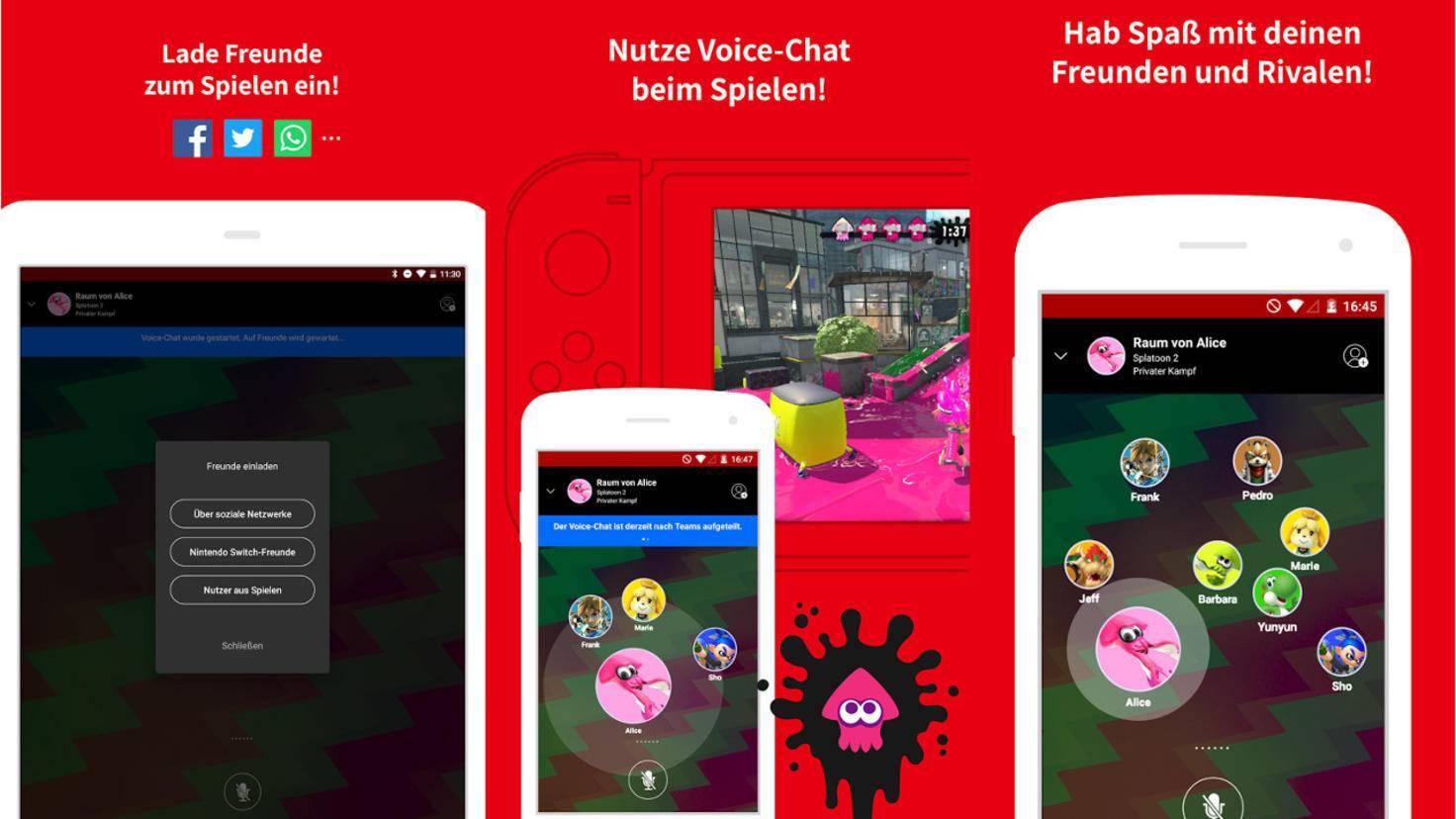 """Nintendo bewirbt seine Online-App als Kommunikationskanal zwischen Spielern von Multiplayer-Games wie """"Splatoon 2""""."""