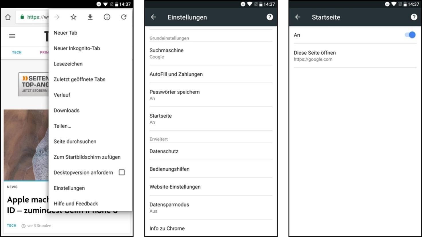 Chrome-Android-Startseite