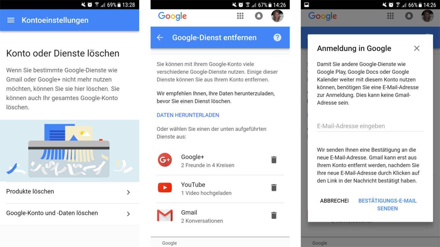 Gmail Konto loeschen