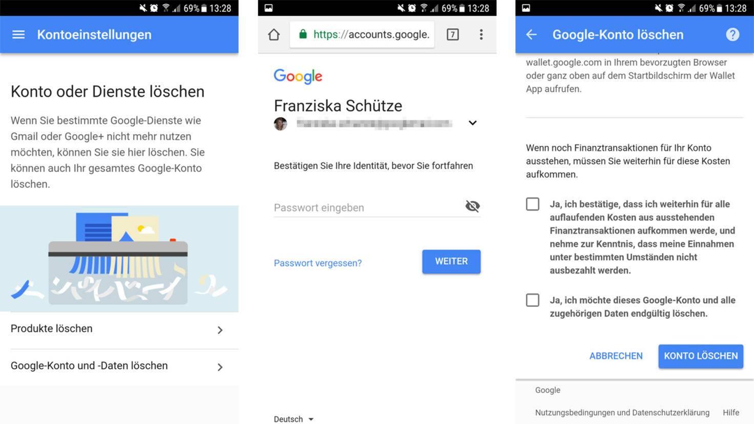 Google Konto loeschen mobil