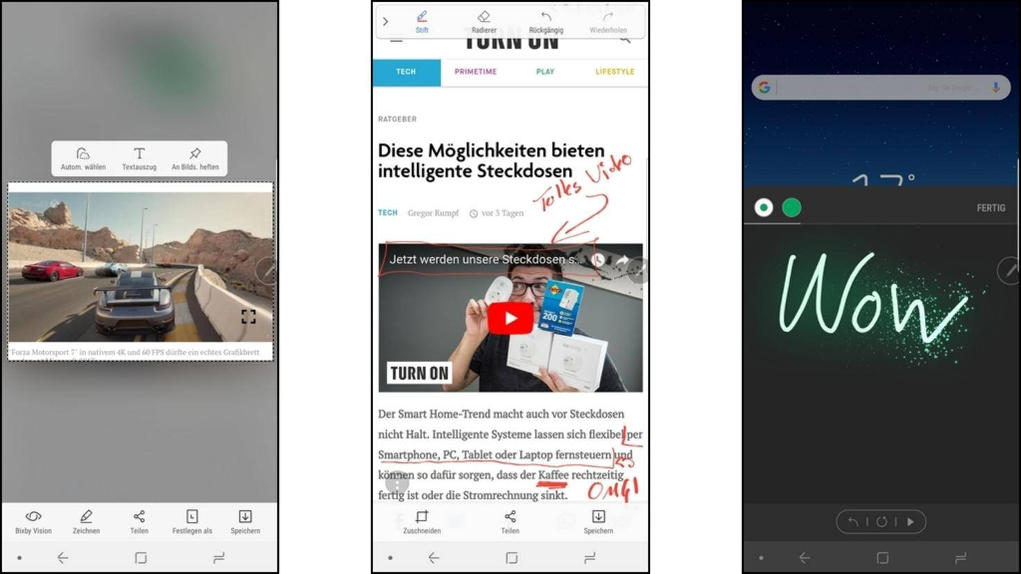 Neben Notizen lassen sich auch Screenshots bearbeiten oder animierte Nachrichten erstellen.
