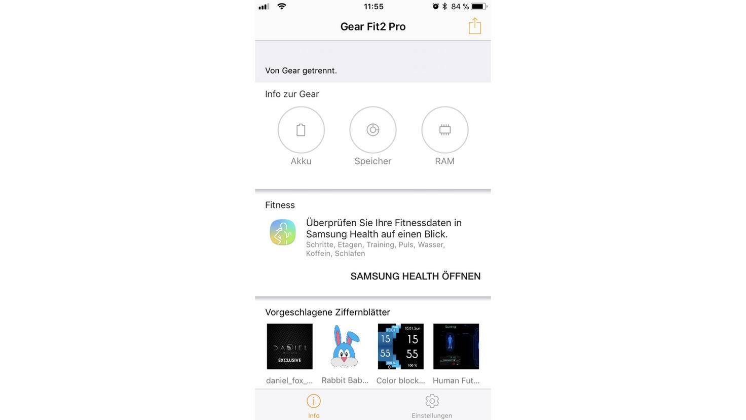 Muss die Samsung Gear Fit2 Pro an den Strom? Falls Du nicht auf der Uhr direkt nachsehen willst, reicht auch ein Blick in die Samsung Gear-App.