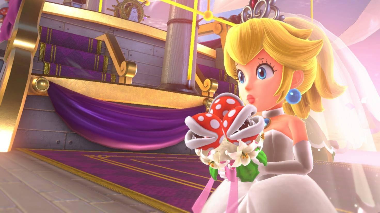 Ja, richtig gelesen: Auch Peachs Hochzeitskleid steht Mario als Outfit zur Verfügung.