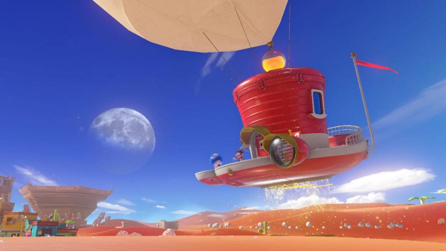 """Mit dem Hut-Luftschiff Odyssey reist Mario durch die Königreiche von """"Super Mario Odyssey""""."""