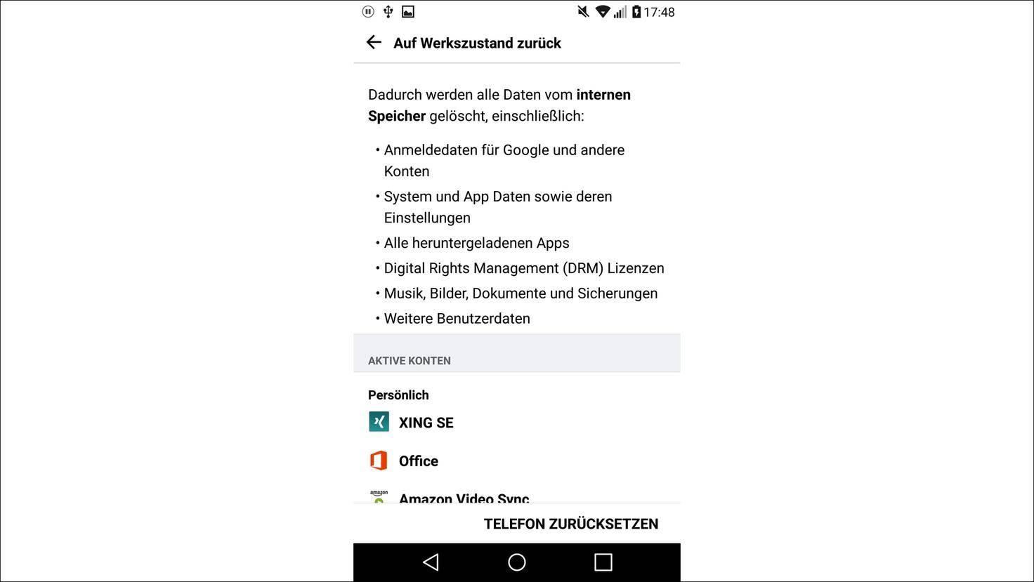 Android-Werkzustand-zurücksetzen