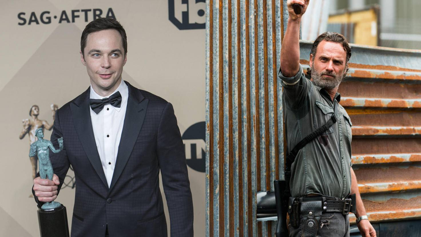 "Jim Parsons bei Preisverleihung und Andrew Lincoln in ""The Walking Dead"""