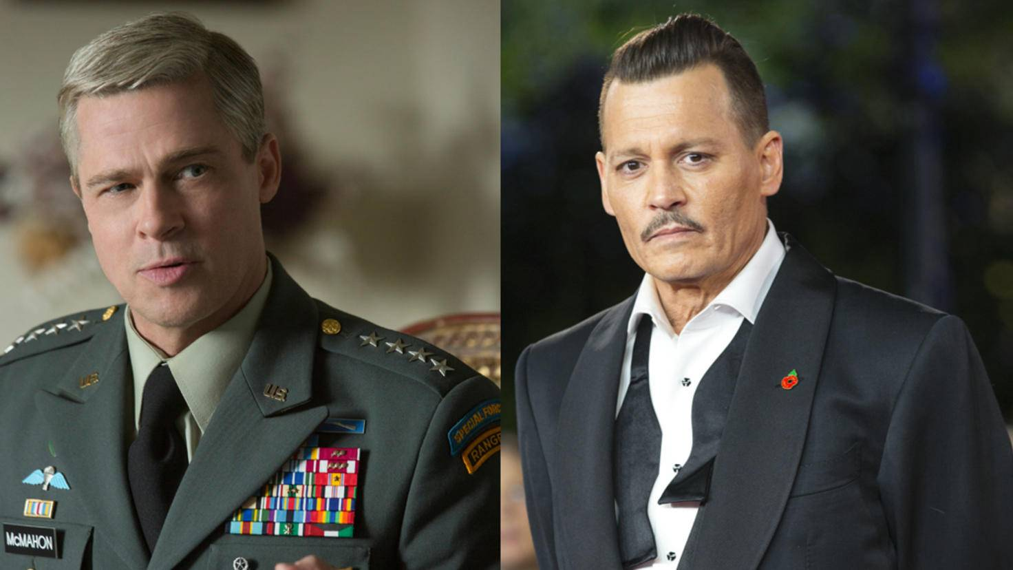 "Johnny Depp bei Premiere und Brad Pitt in ""War Machine"""