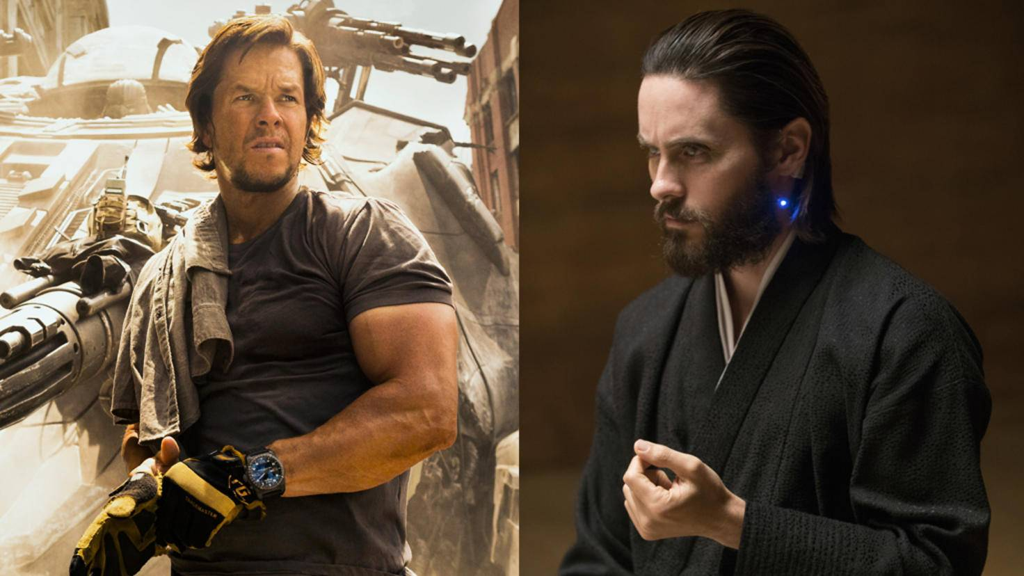 "Mark Wahlberg in ""Transformers: The Last Knight"" und Jared Leto in ""Blade Runner 2049"""