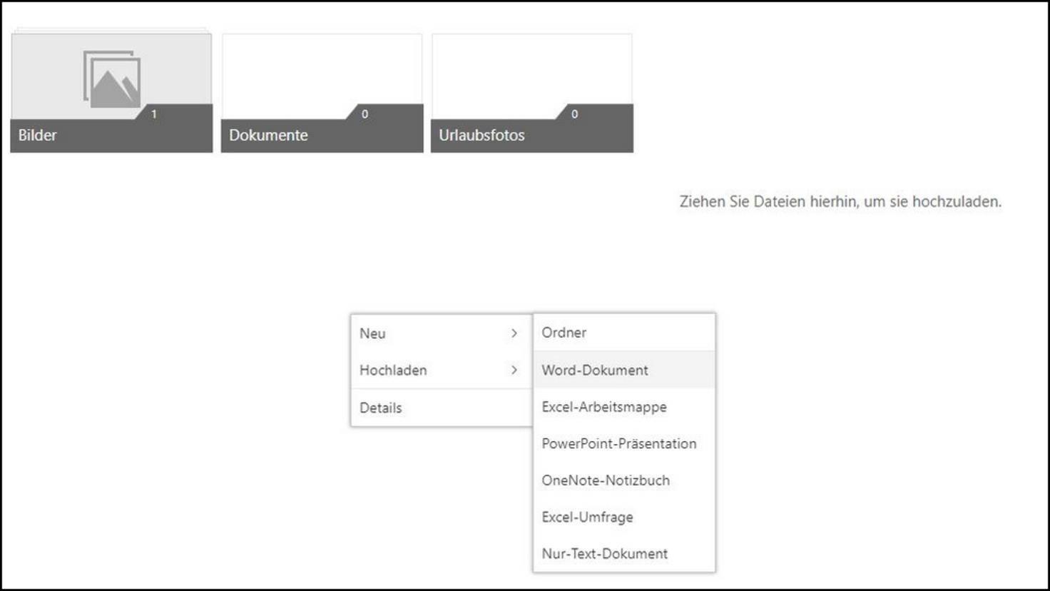 Durch Rechtsklick ins OneDrive-Fenster kannst Du ein neues Dokument anlegen.