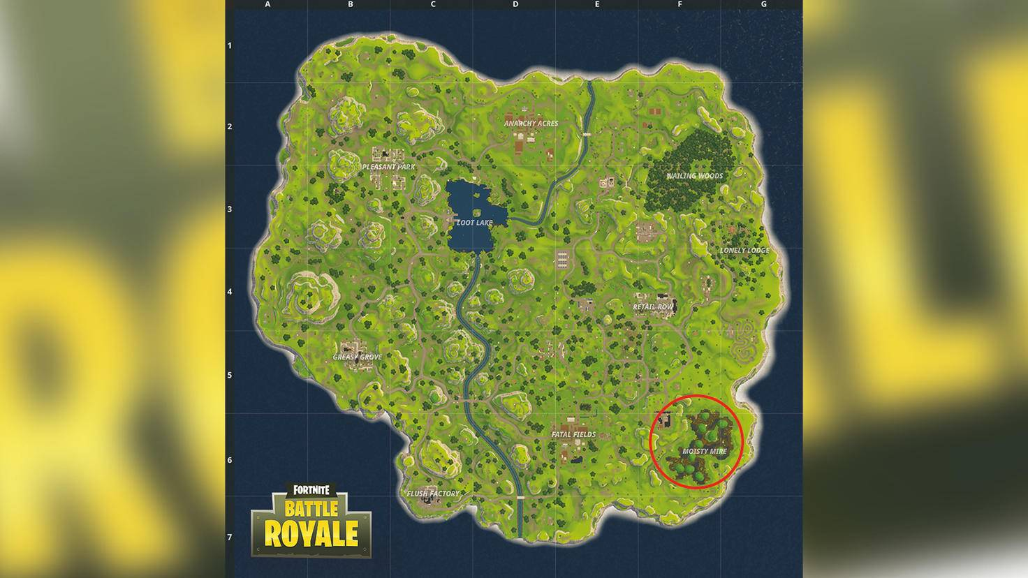 Fortnite: Battle Royale – der Landeplatz Moisty Mire.
