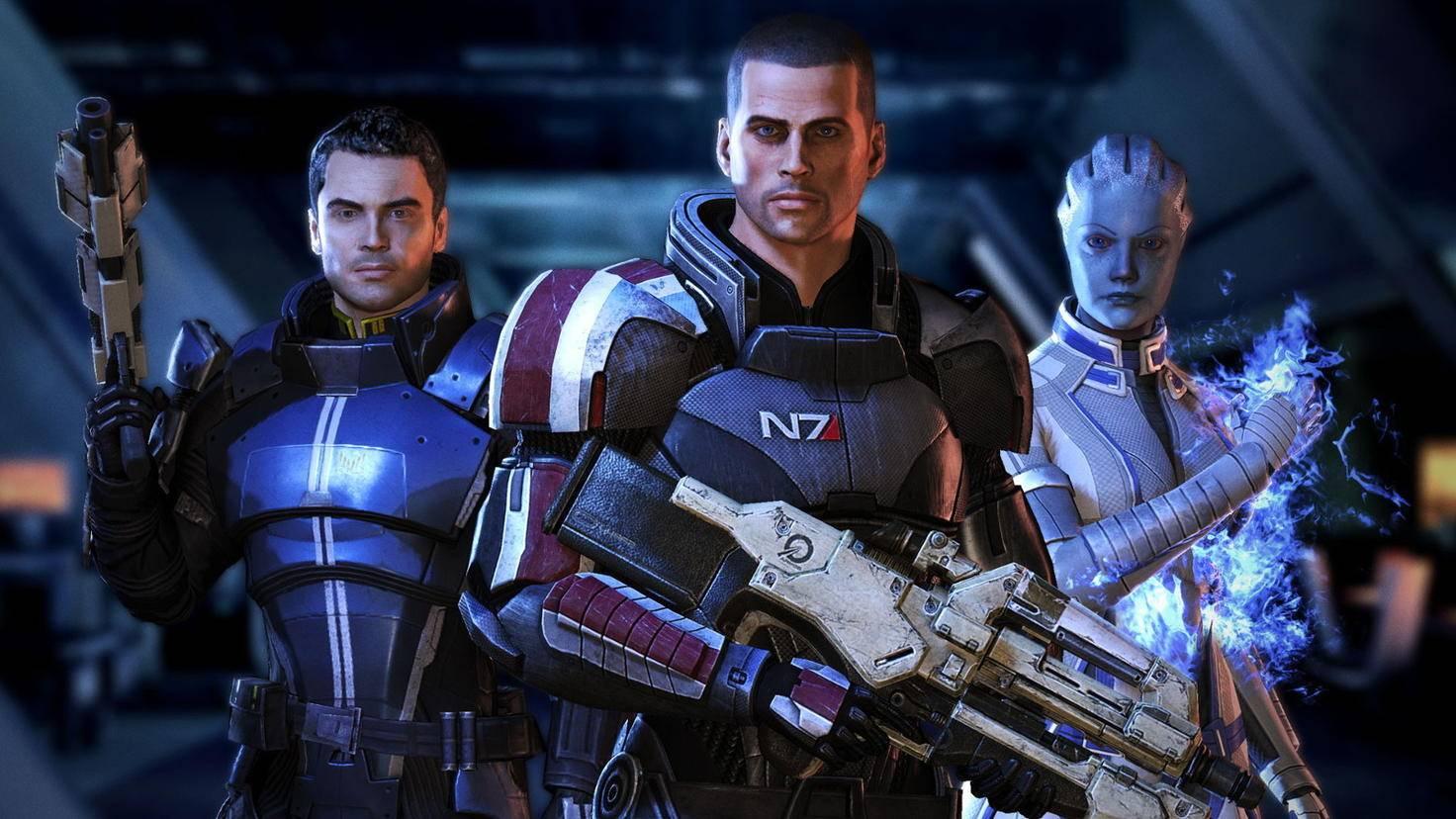 """Commander Shepard (Mitte) und seine Crew standen in der """"Mass Effect""""-Trilogie im Mittelpunkt."""