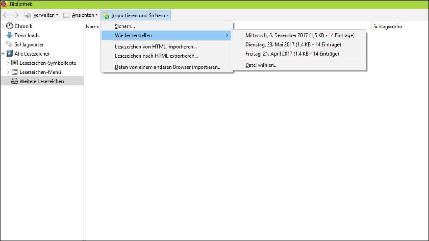 Firefox-Lesezeichen-Wiederherstellen