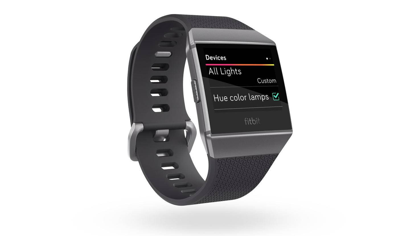 Fitbit_Ionic_3QTR_Charcoal_Apps_Hue_Devices