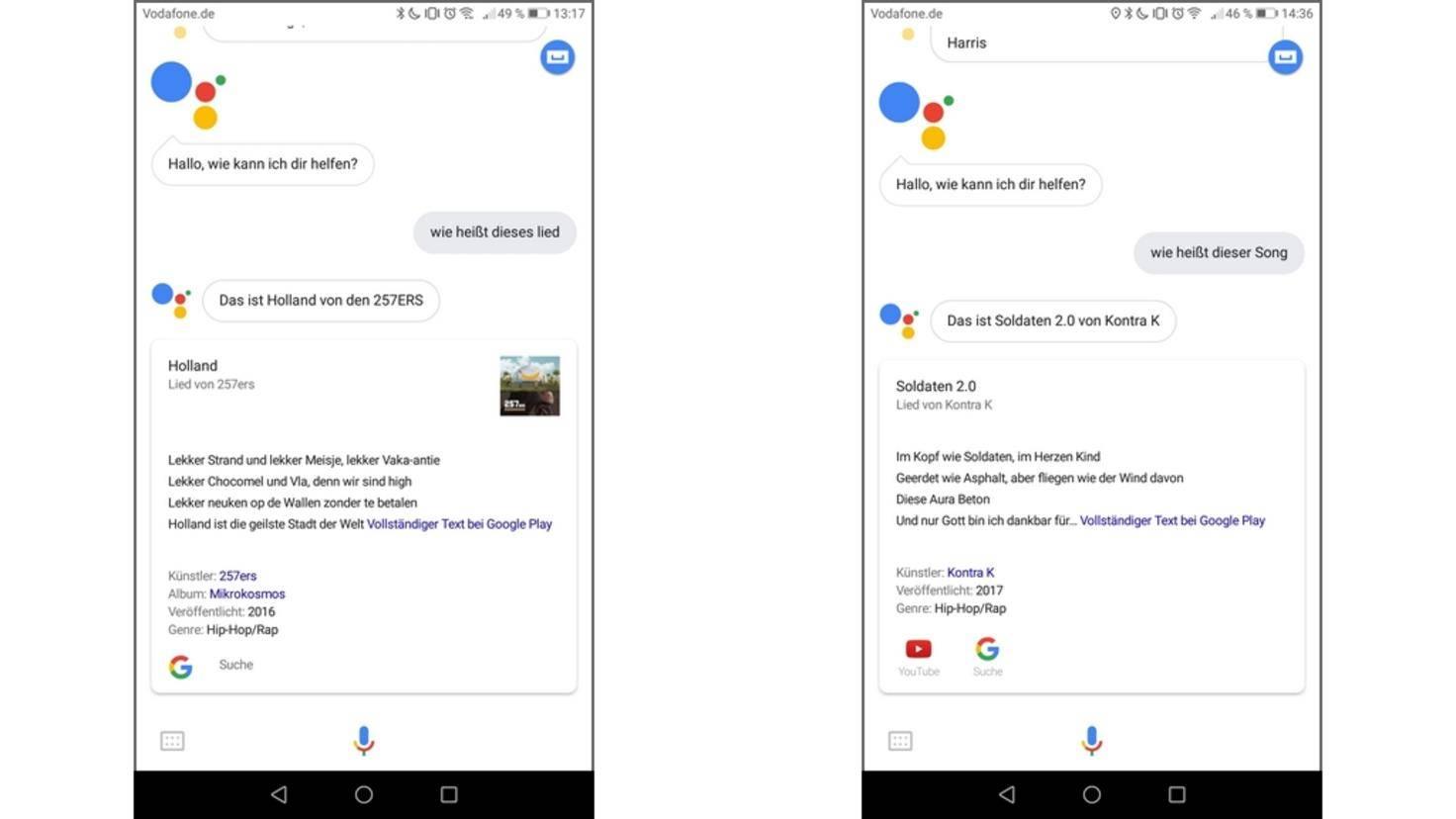 Google-Assistant-Songerkennung