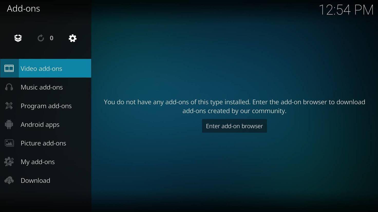 """Wähle in Kodi den Eintrag """"Addons"""" und klicke dann ganz unten auf """"Download""""."""