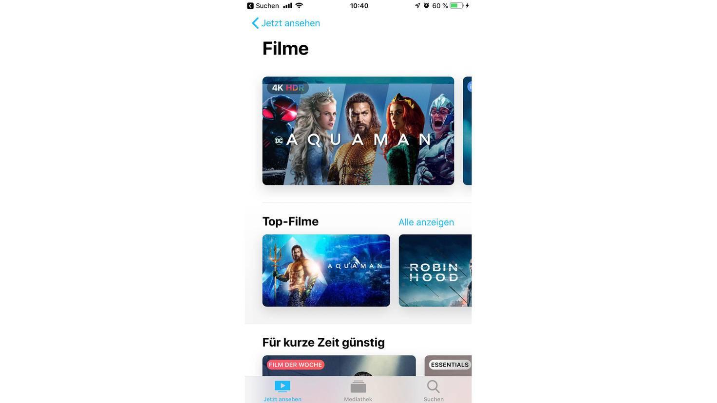 """Die """"Filme""""-Rubrik besteht aus Inhalten von iTunes, Prime Video und Co."""