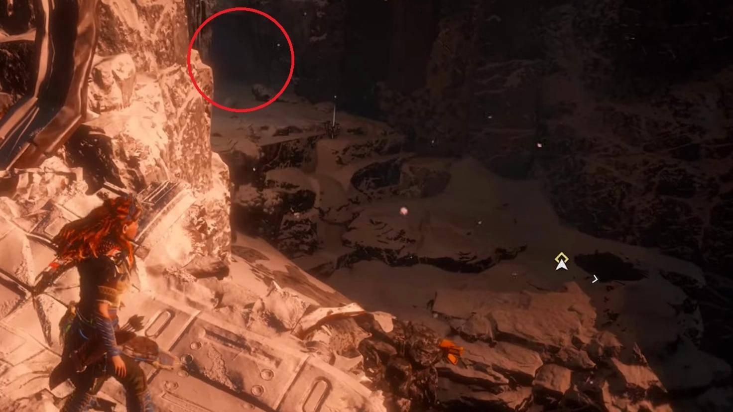 Von der Plattform in der Nähe des Seils aus kannst Du den Höhleneingang (roter Kreis) erahnen.