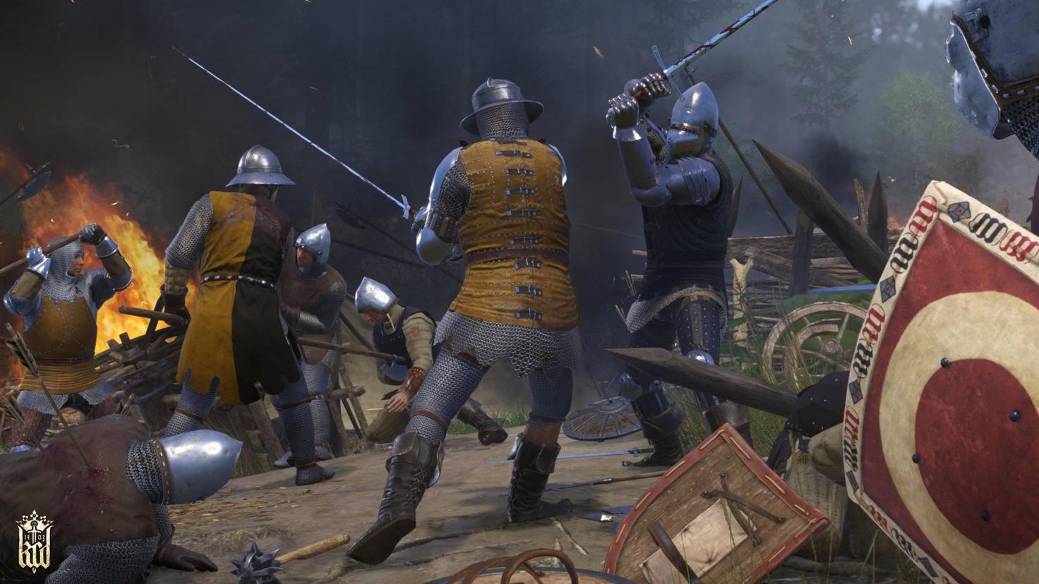 """Kämpfen mit mehreren Gegner gehst Du in """"Kingdom Come: Deliverance"""" besser aus dem Weg. Nutze im Schlachtgetümmel die Chance, von hinten anzugreifen."""