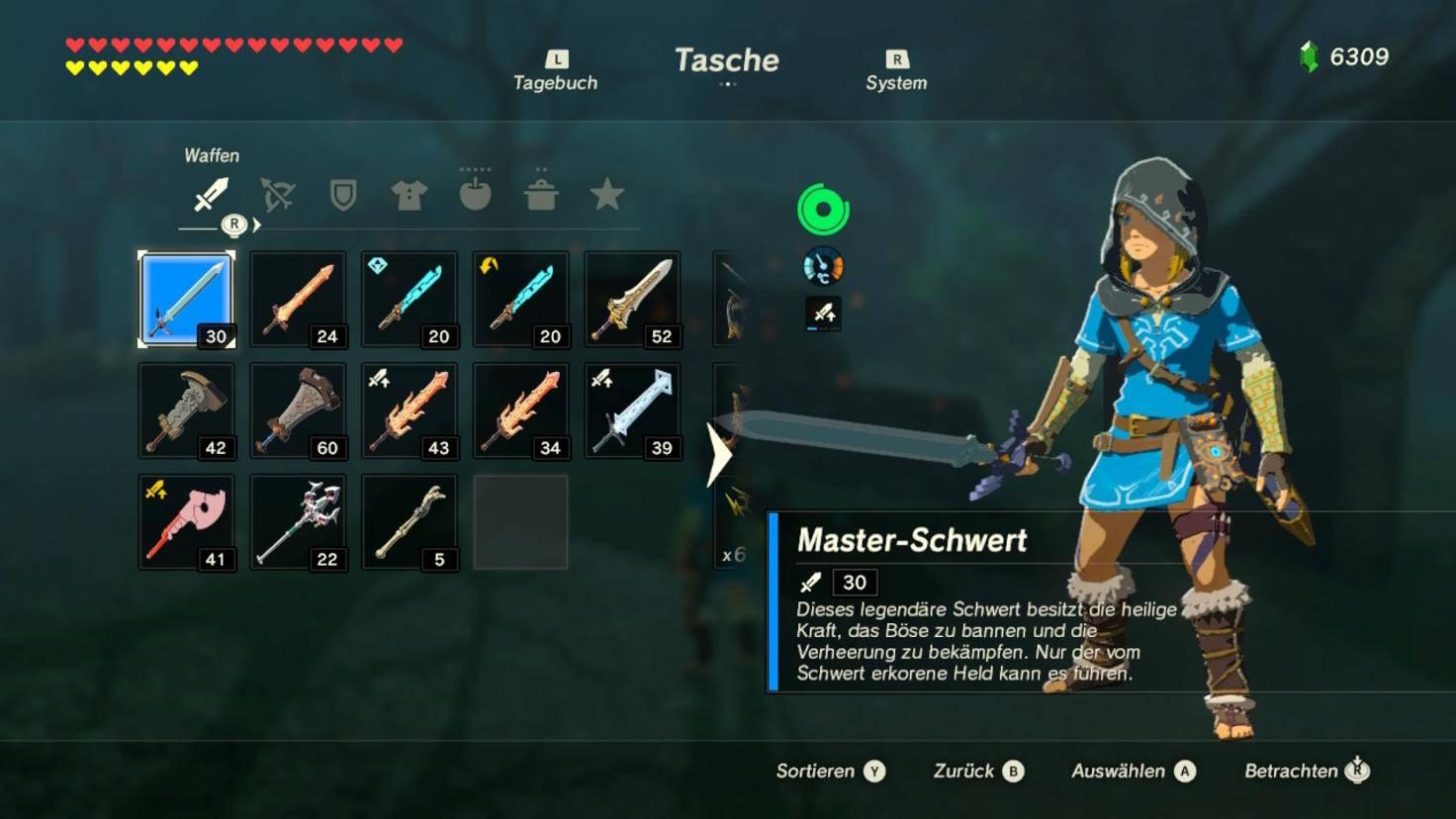Das Master-Schwert hat ordentliche Werte und geht vor allem nie endgültig kaputt.