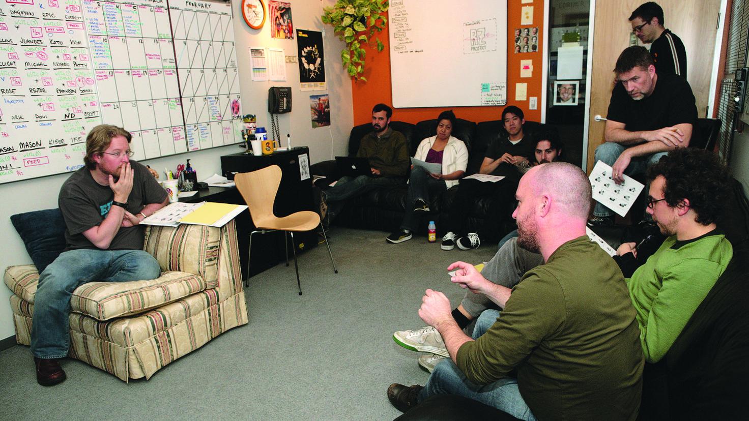 Come together: Ob Projektbesprechung oder lockerer Ideenaustausch, das Begegnen und Reden ist Firmenphilosophie.