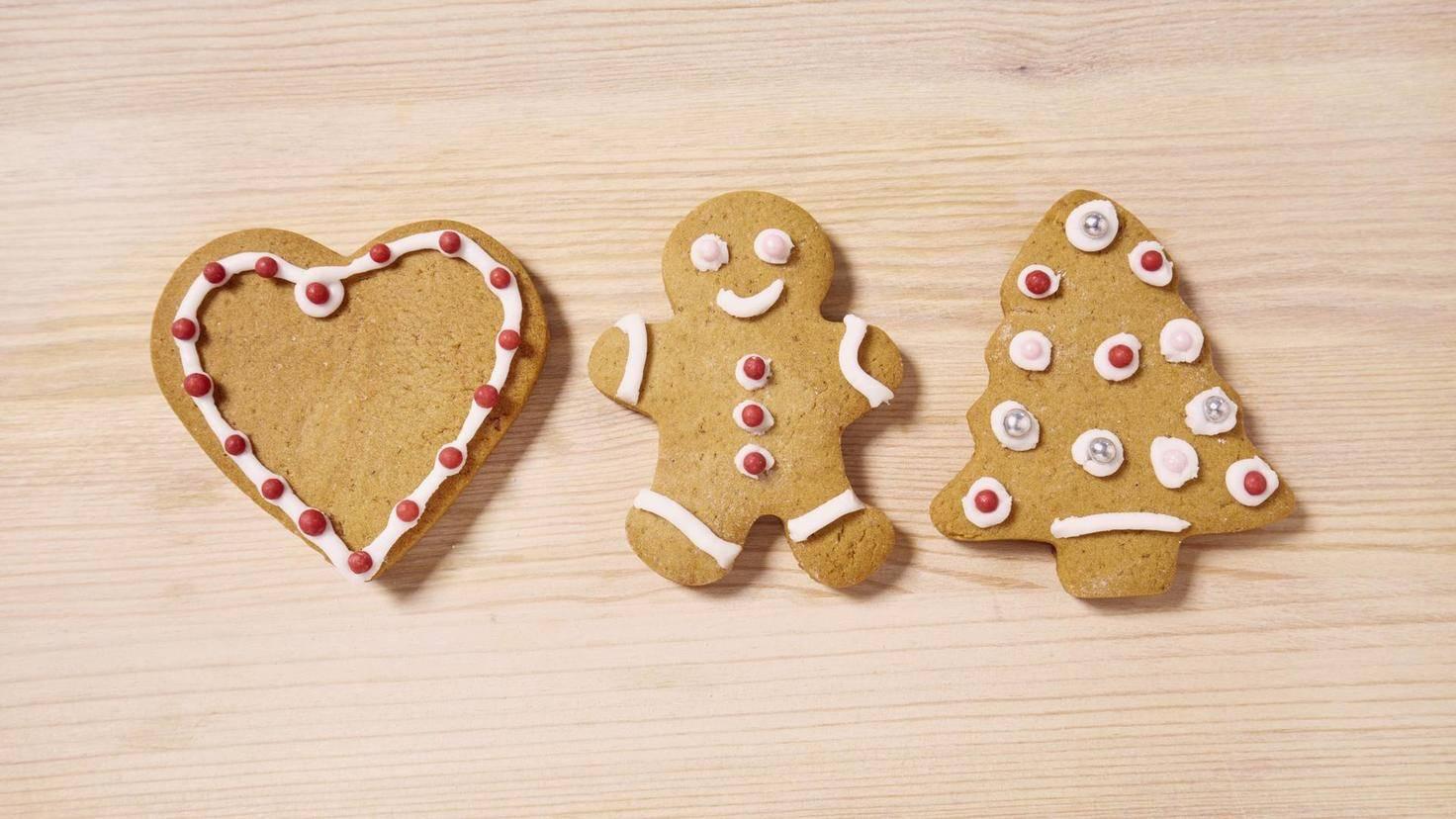 High angle view of Christmas cookies