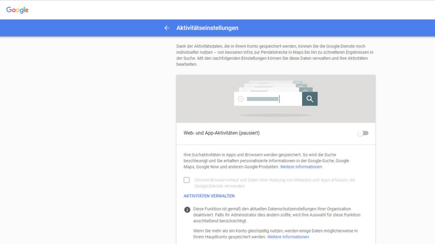 Google Aktivitaetseinstellungen