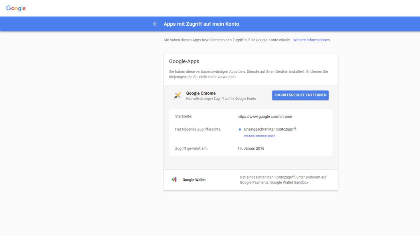 Google Apps Zugriffsrechte