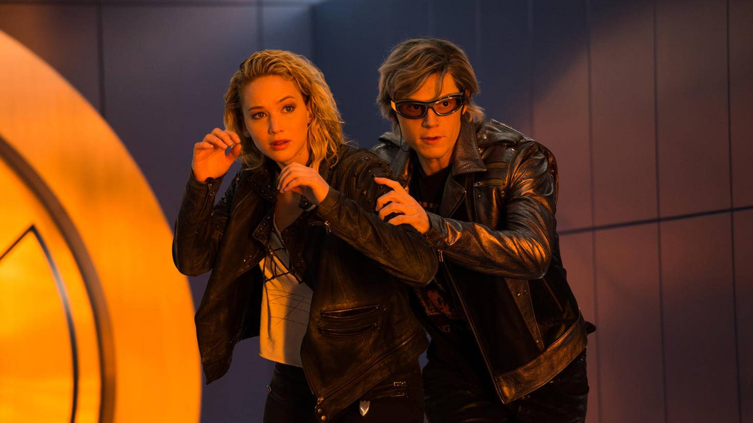 Jennifer Lawrence und Evan Peters als Raven und Quicksilver in X-Men: Apocalypse