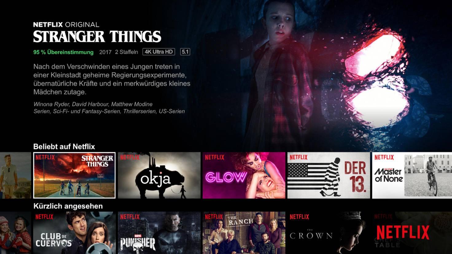 Netflix-Oberfläche