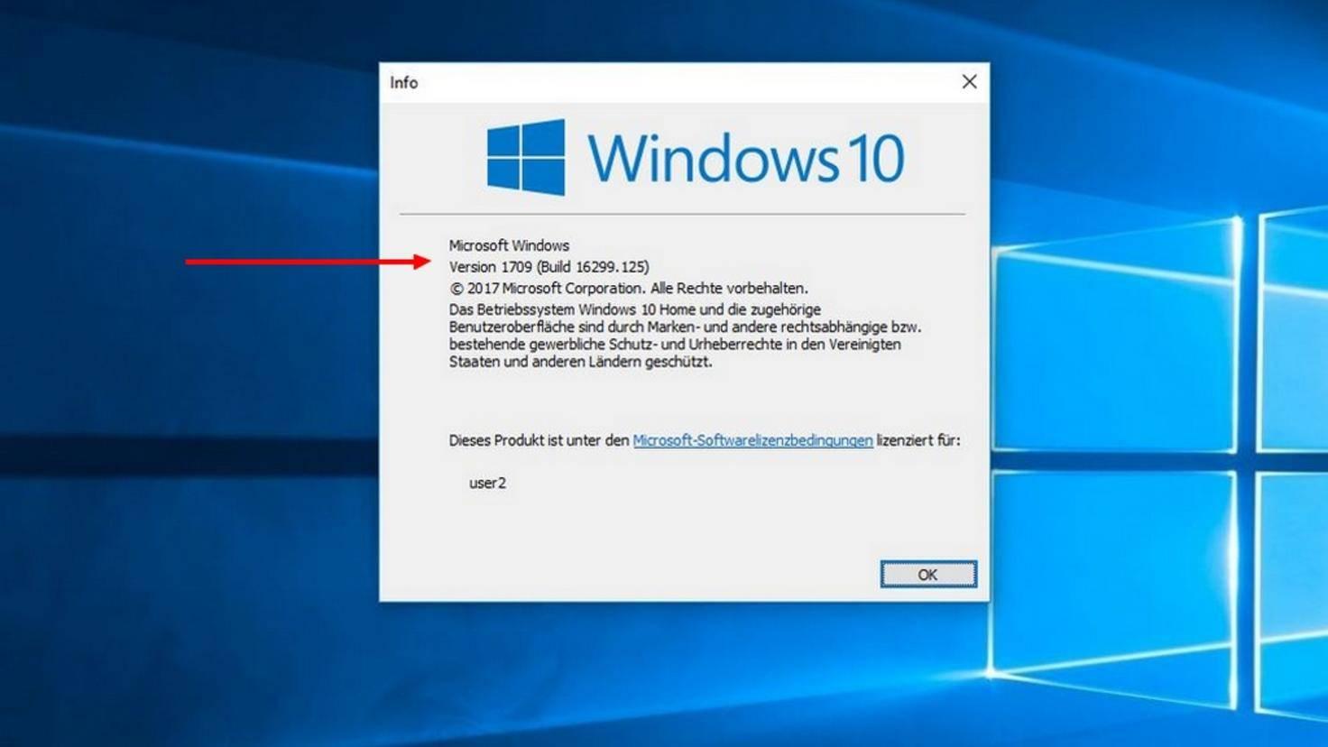 Dort werden Versionsnummer und Build-Nummer von Windows 10 angezeigt.