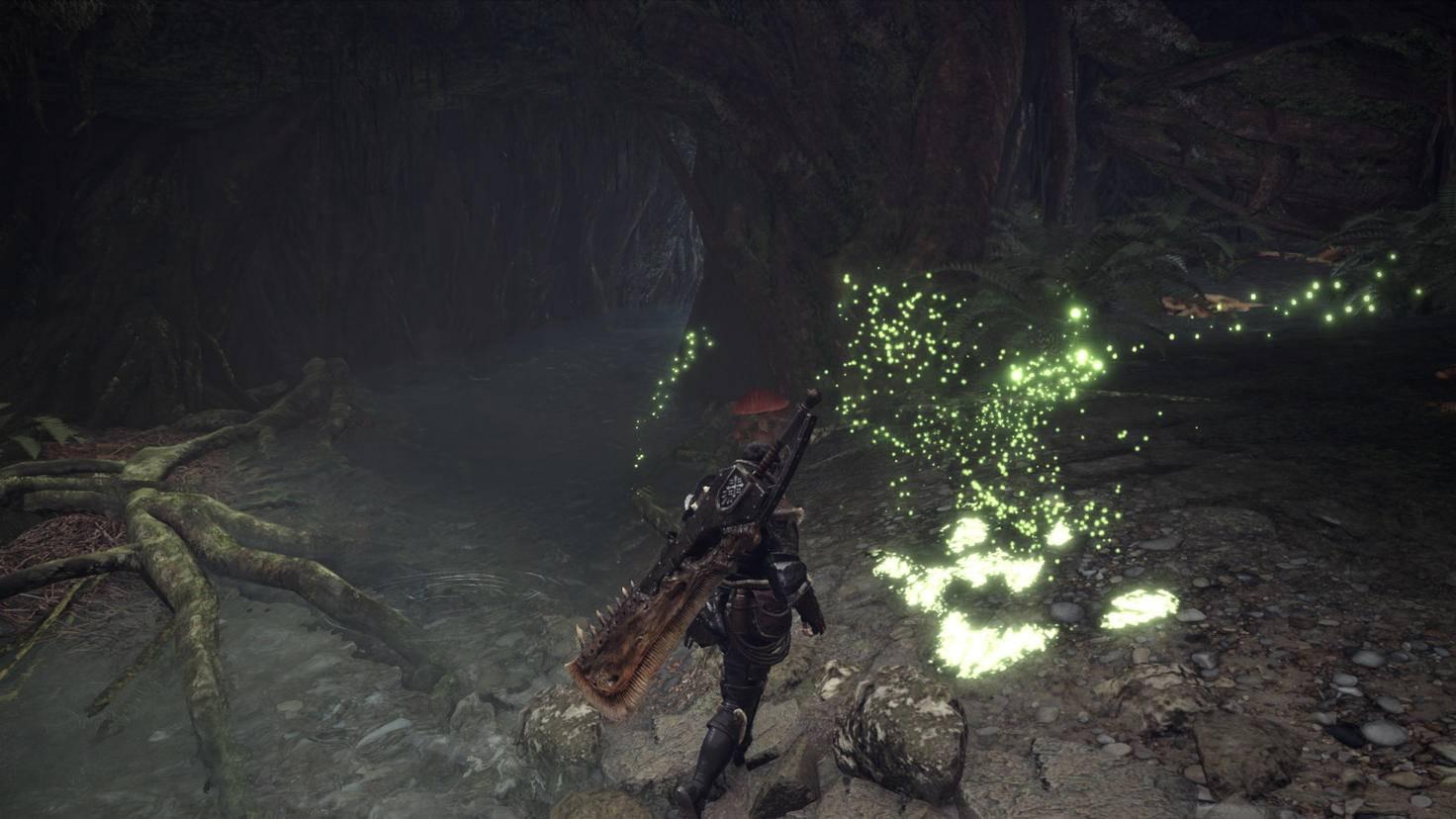 """Die grün leuchtenden Spähkäfer sind Dein Kompass in der Welt von """"Monster Hunter: World""""."""