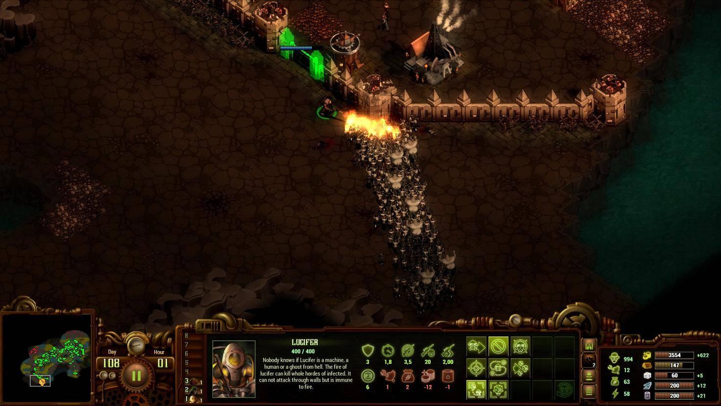 Erst spät im Spiel gibt es Spezialeinheiten wie den Flammenwerfer-Krieger Lucifer.