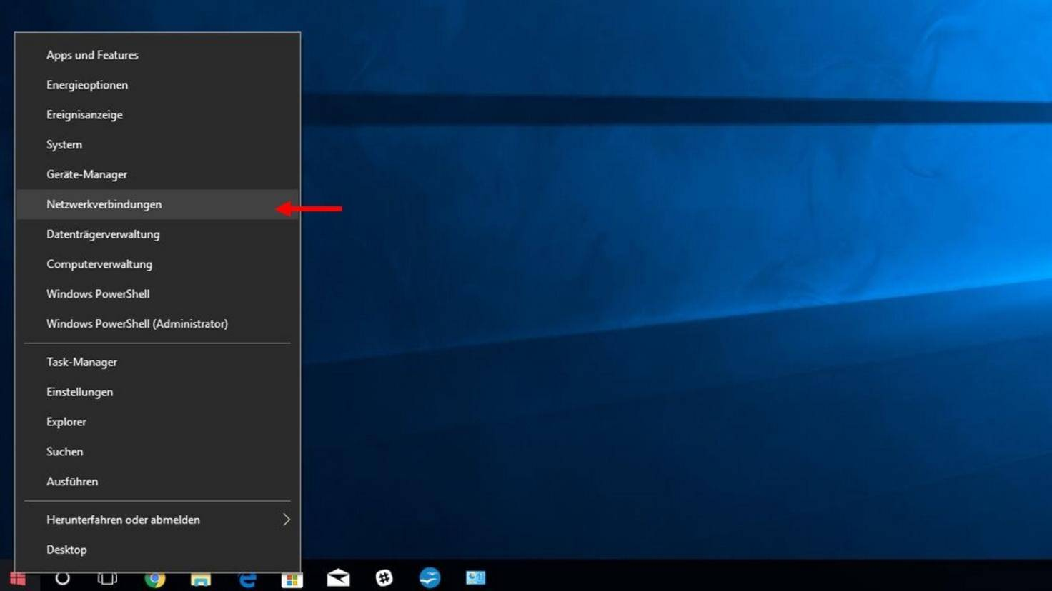 """Wechsle über einen Rechtsklick auf das Windows-Symbol in die """"Netzwerkeinstellungen""""."""