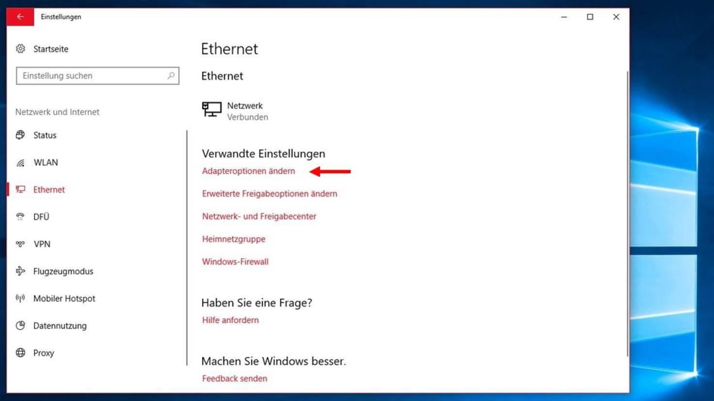 """Wähle """"Ethernet"""" oder """"WLAN"""" und dann """"Adaptereinstellungen."""