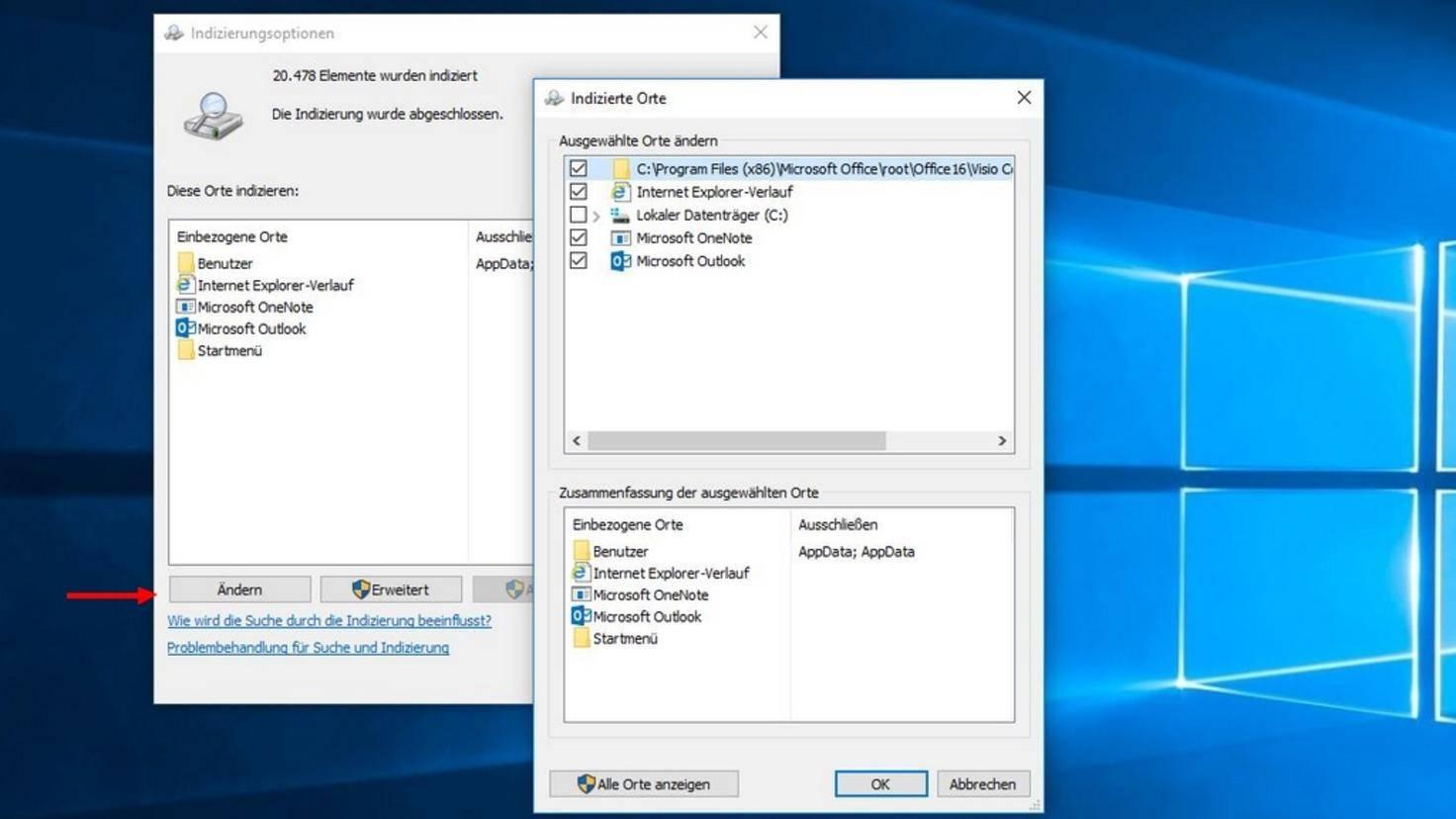 """Über die Schaltfläche """"Ändern"""" legst Du fest, welche Ordner Windows für standardmäßig durchforsten soll."""