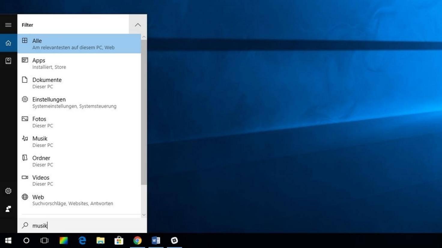 Die Cortana- bzw. Desktop-Suche ist der einfachste und direkteste Weg, um in Windows 10 etwas zu suchen.