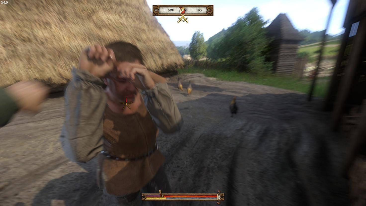 """Kämpfe sollte man in """"Kingdom Come: Deliverance"""" möglichst vermeiden. Heinrich kriegt hier in der Regel gehörig eins auf die Mütze – im Faustkampf genauso, ..."""