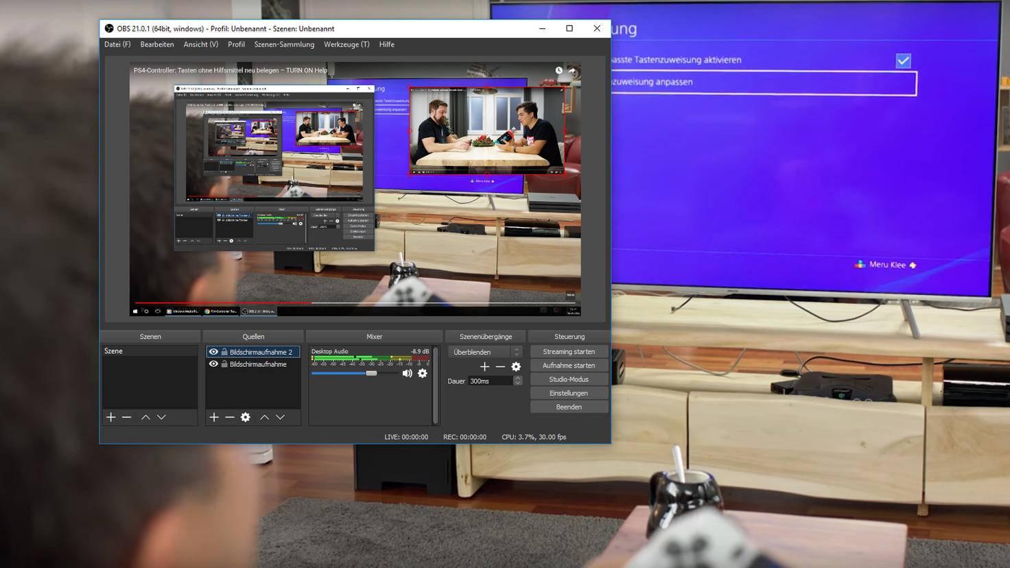 Für dieses Beispiel-Bild haben wir auf zwei Monitoren zwei YouTube-Videos gestartet und lassen ein Bild in der rechten oberen Ecke anzeigen. Am roten Rahmen um das Video lässt sich dessen Größe verstellen.