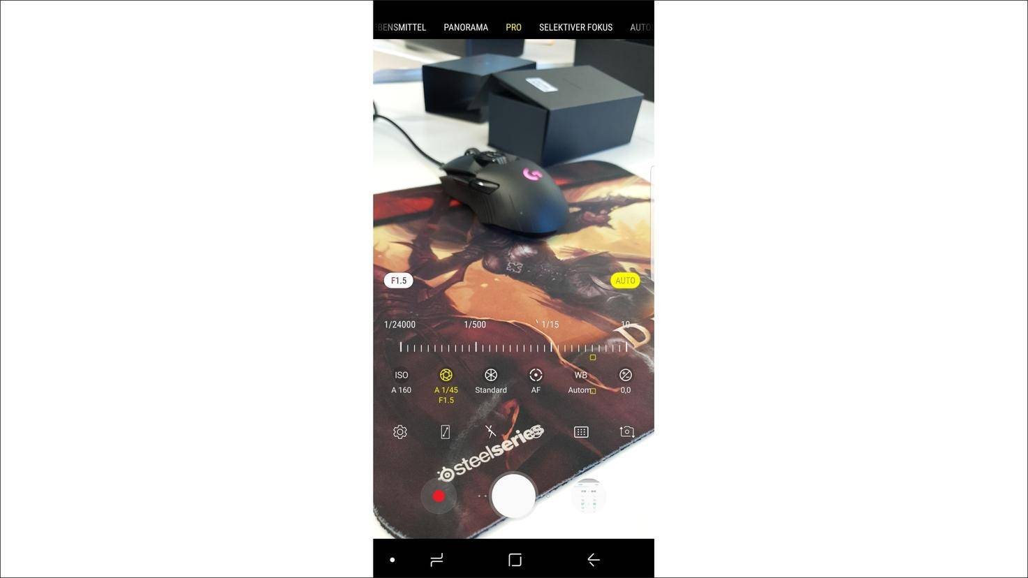 Galaxy-S9-Pro-Modus-Blendenwert