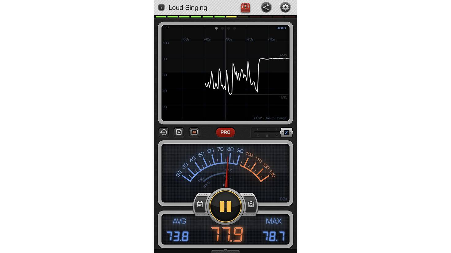 Die Messung der Lautstärke ergab einen Höchstwert von fast 80 Dezibel.