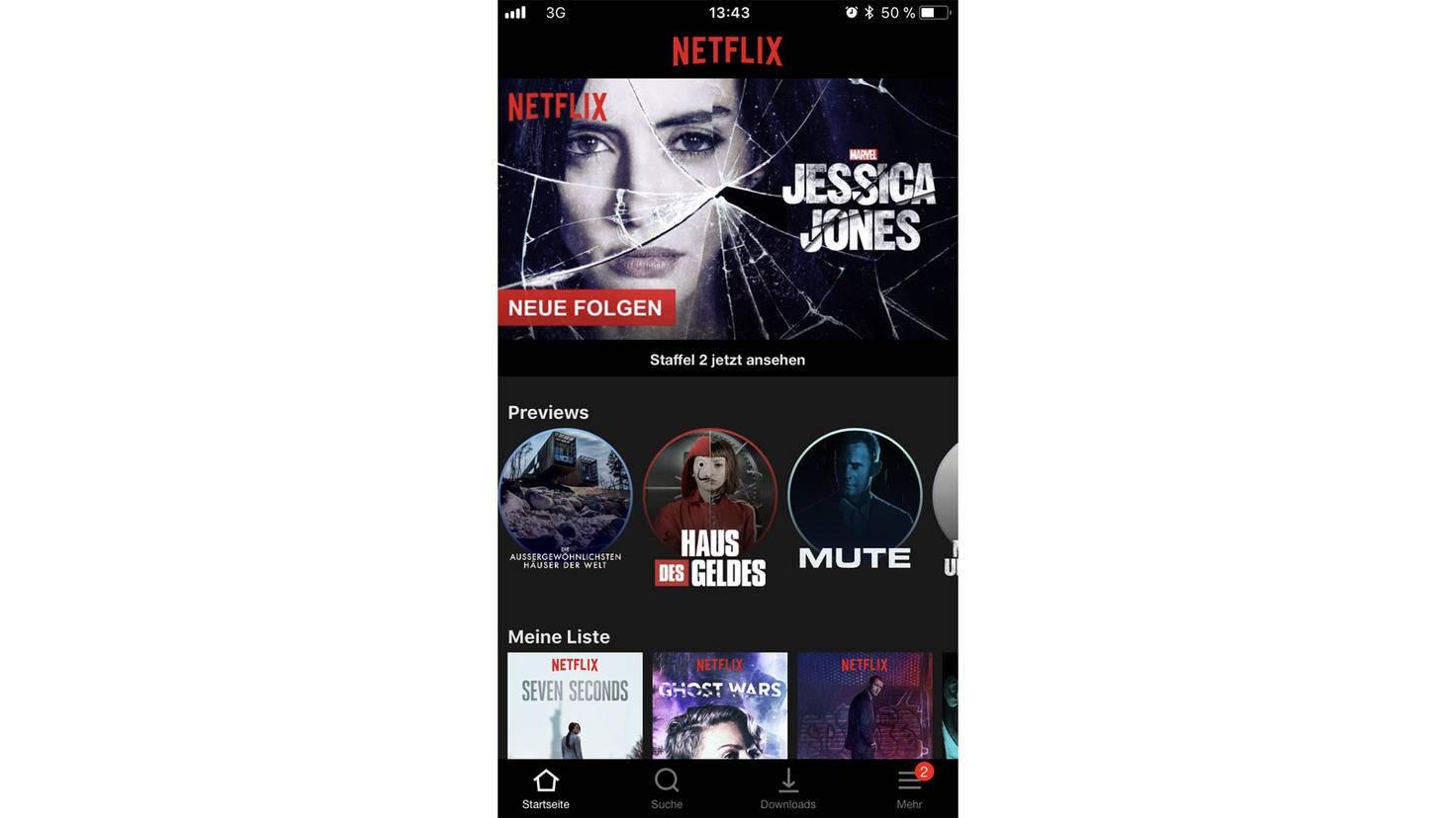 Unter dem Netflix-Highlight erscheinen künftig diese Preview-Kreise, die dem User weitere Inhalte schmackhaft machen sollen.