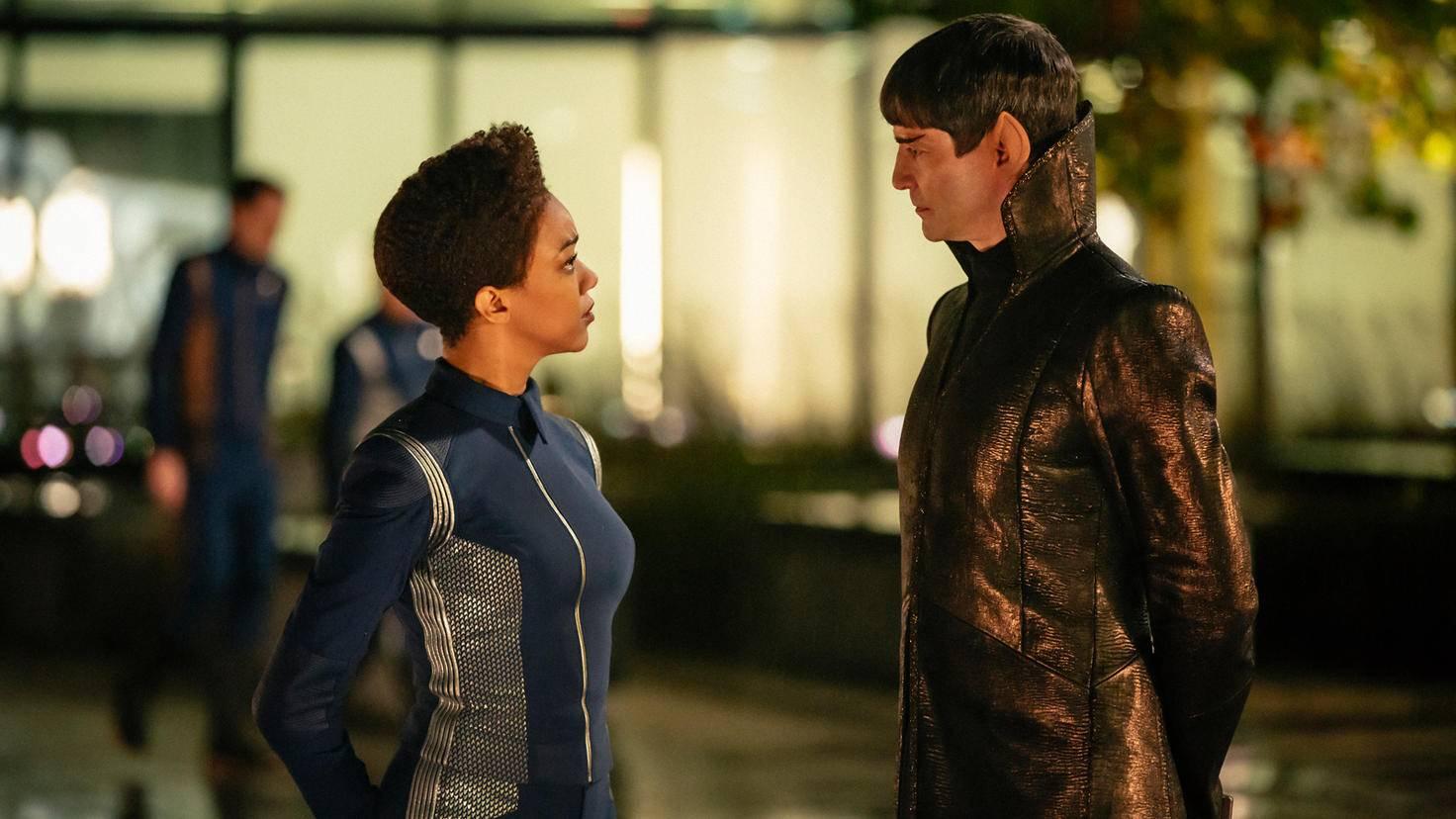 """Star Trek: Discovery""-Szenenbild, Michael Burnham und Sarek (James Frain)."