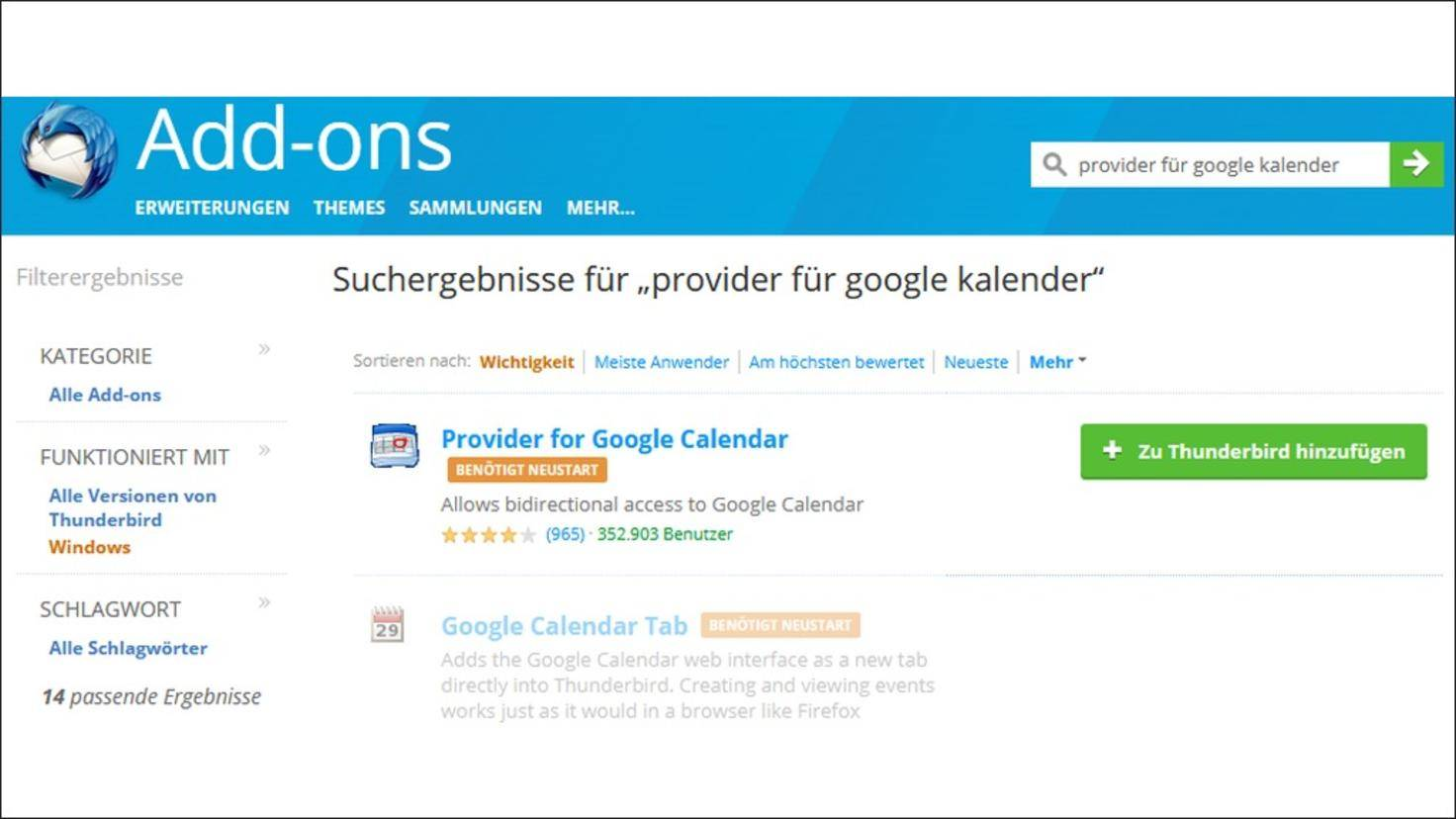 Thunderbird Kalender Mit Google Kalender Synchronisieren