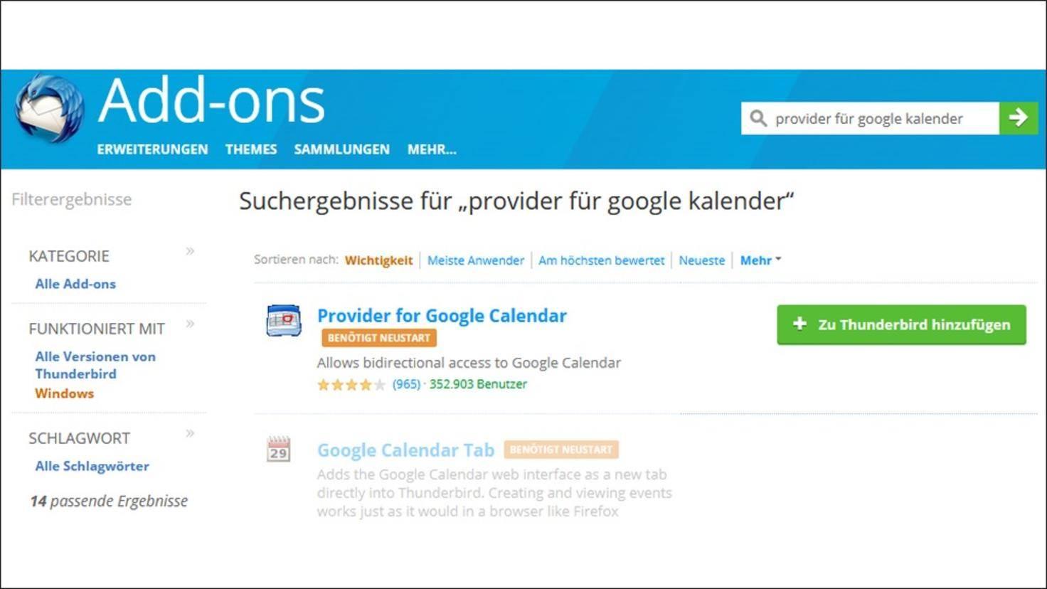 Thunderbird-Google-Kalender