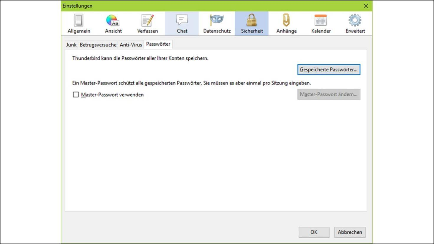 Thunderbird-Passwort ändern: So gehts