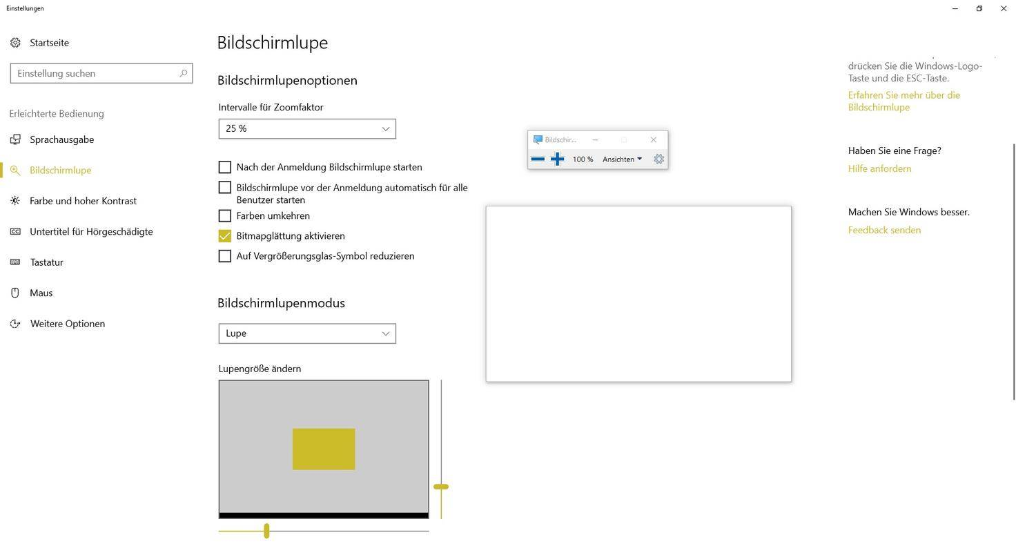 Windows-10-Bildschirmlupe