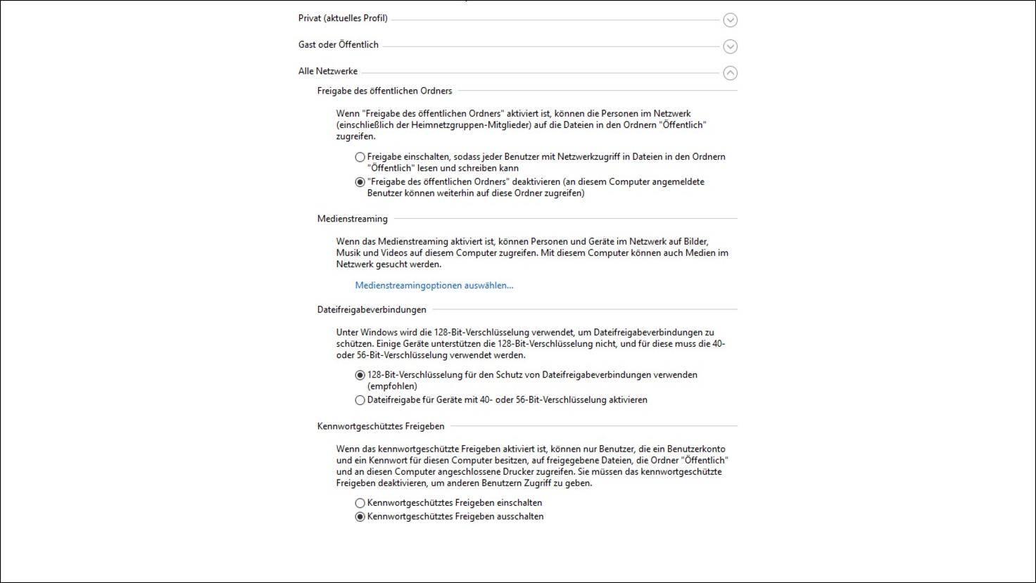 Windows-10-Netzwerkfreigabe-Kennwortgeschützte