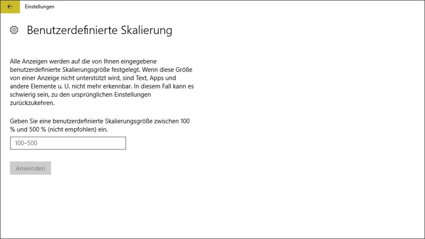 Windows-10-Skalierung